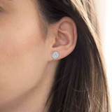 Silver Pave Cubic Zirconia Disc Stud Earrings
