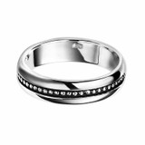 Men's Sterling Silver Oxidized Stud Detail Ring