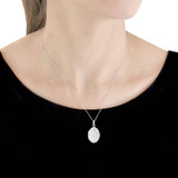 9ct White Gold Oval Hammered Locket