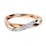 9ct Rose & White Gold Diamond Crossover Ring