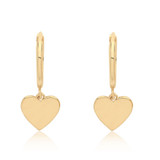 Theia Collection   9ct Gold Heart Charm Hoop Earrings