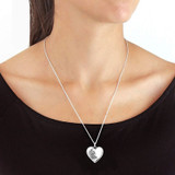 Silver Large Etched Flower Heart Locket