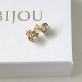 9ct Gold Pearl Knot Stud Earrings