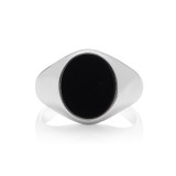 Silver Oval Black Onyx Signet Ring