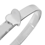 Sterling Silver Heart Expander Baby Bangle