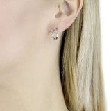 9ct White Gold Small Cubic Zirconia Hoop Earrings