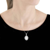 9ct White Gold Oval Cubic Zirconia Locket