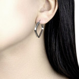9ct White Gold Square Creole Hoop Earrings