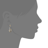 9ct Two Colour Gold Drop Earrings
