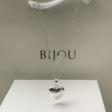 Silver Hammered Heart Locket Necklace