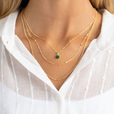 9ct Gold Created Emerald May Birthstone Pendant