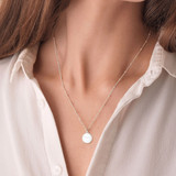 Silver Aries Zodiac Constellation Disc Necklace