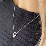 Silver Hamsa Hand of Protection Necklace