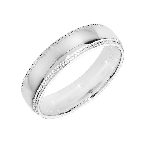 Sterling Silver Milgrain Wedding Band Ring 5mm