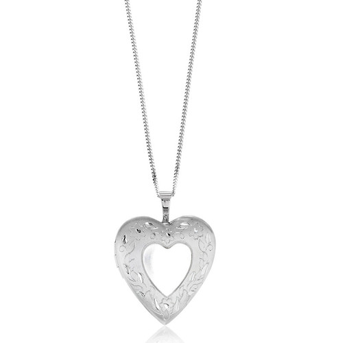 Sterling Silver Etched Flower Heart Locket