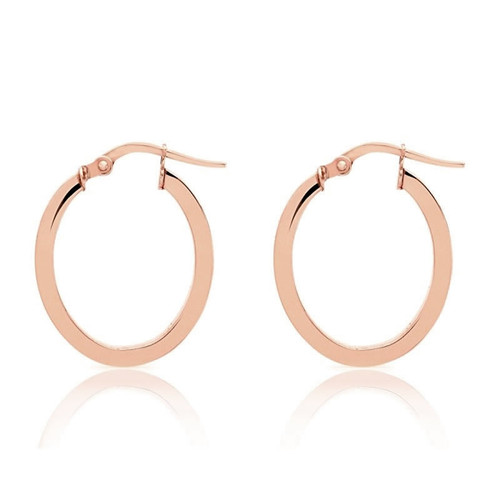 9ct Rose Gold Oval Creole Hoop Earrings