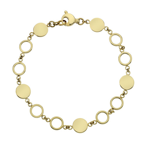 9ct Yellow Gold Circle & Solid Disc Bracelet