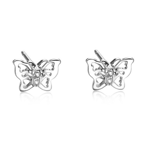 Children's Silver Diamond Butterfly Stud Earrings