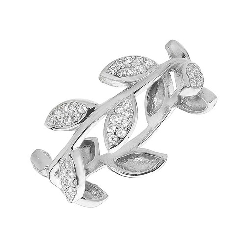 Silver Cubic Zirconia Pave Olive Leaf Ring
