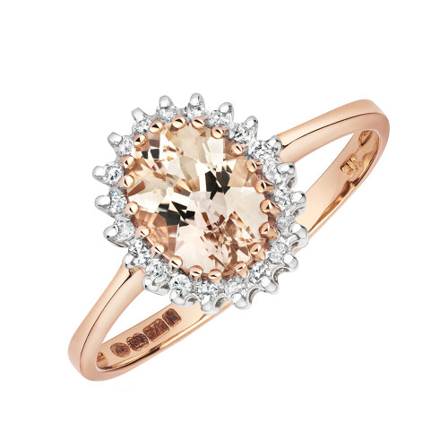 9ct Rose Gold Oval Morganite & Diamond Ring