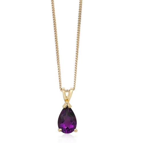 9ct Gold Pear Cut Amethyst Pendant