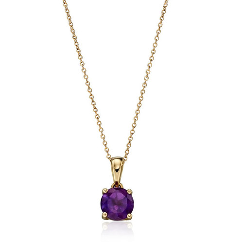 9ct Gold Amethyst February Birthstone Pendant