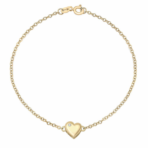 9ct Gold Diamond Heart Motif Bracelet
