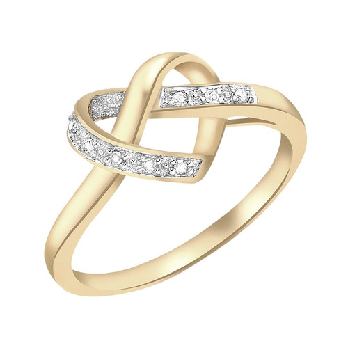 9ct Gold Diamond Heart Knot Ring