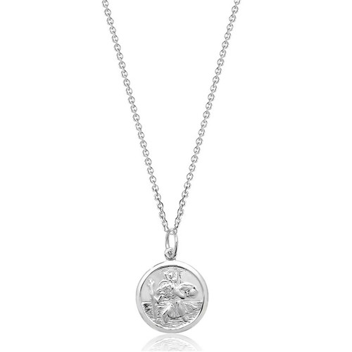 Men's Solid Silver Double Sided St Christopher Pendant 1