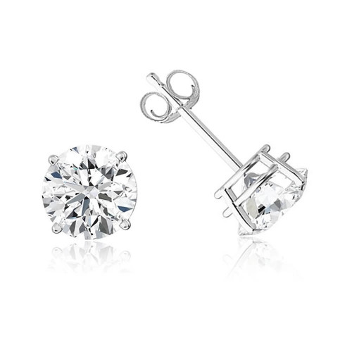 9ct White Gold Cubic Zirconia Stud Earrings 8mm
