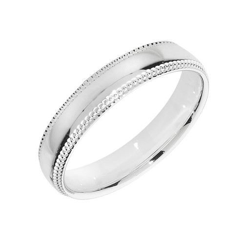 Sterling Silver Milgrain Wedding Band Ring 4mm