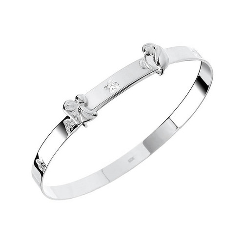 Sterling Silver Guardian Angel Baby Bangle