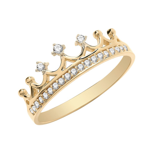 9ct Gold Cubic Zirconia Crown Ring