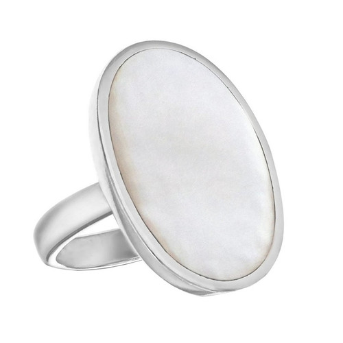 Sterling Silver Large Oval Mother Of Pearl Ring
