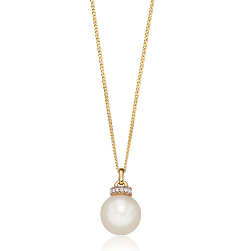 9ct Gold Pearl & Diamond Pendant