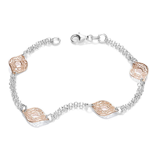 Silver & Rose Gold Filigree Leaf Bracelet