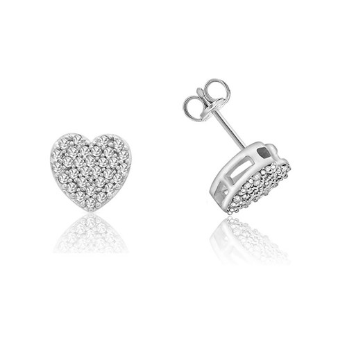 9ct White Gold 0.20ct Pave Diamond Heart Stud Earrings