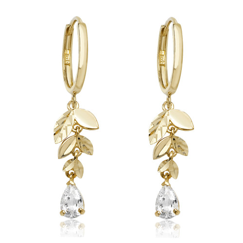 Theia Collection | 9ct Gold Leafy Drop Earrings