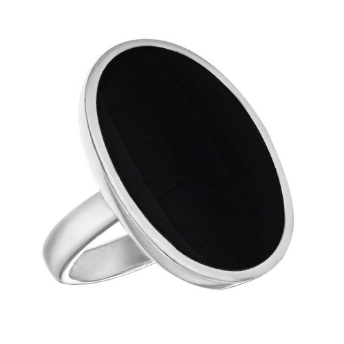 Sterling Silver Large Oval Black Stone Ring