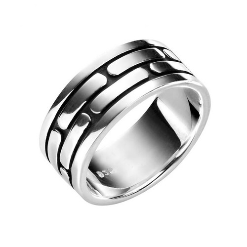 Men's Silver Pattern Insert Solid Band Ring