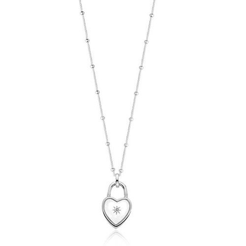 Love Locks | Silver Diamond Heart Padlock Beaded Chain Necklace