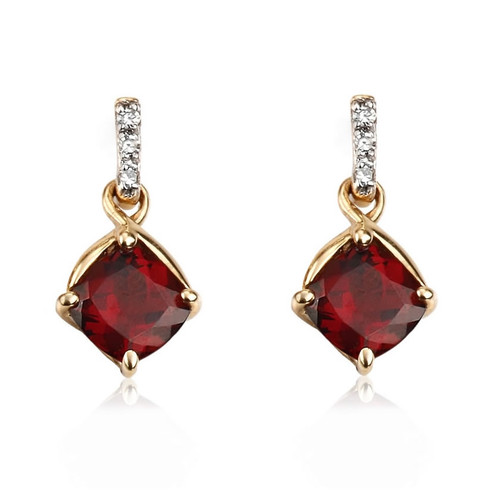 9ct Gold Garnet & Diamond Earrings