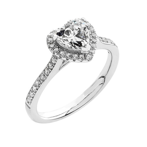 Luminous Silver Cubic Zirconia Heart Halo Ring