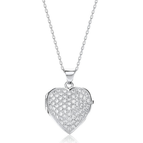 Silver Cubic Zirconia Large Heart Locket Necklace