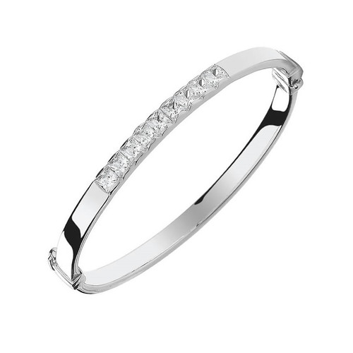 Silver Cubic Zirconia Hinged Baby Bangle