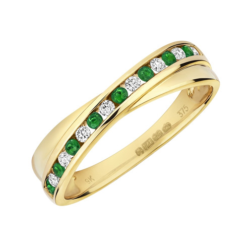 9ct Gold Emerald & Diamond Crossover Ring