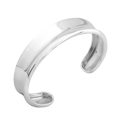 Sterling Silver Concave Torque Bangle