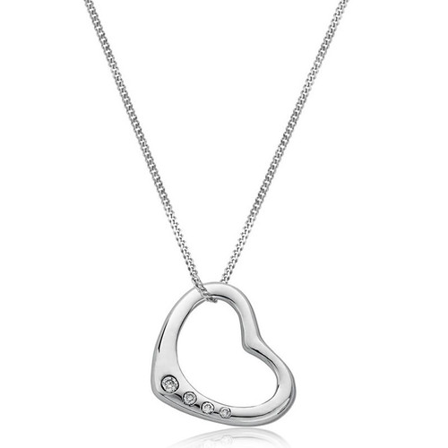 9ct White Gold 0.07ct Diamond Heart Pendant