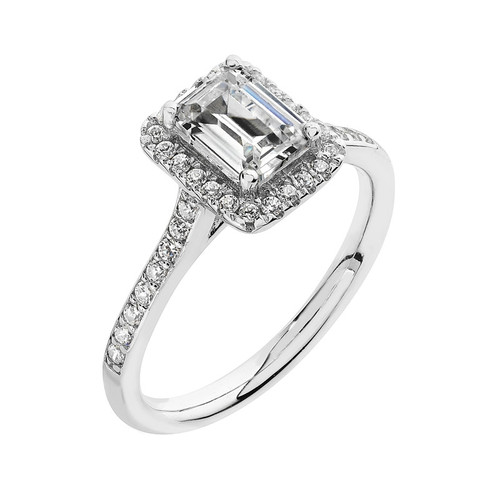 Luminous Silver Emerald Cut Halo Ring