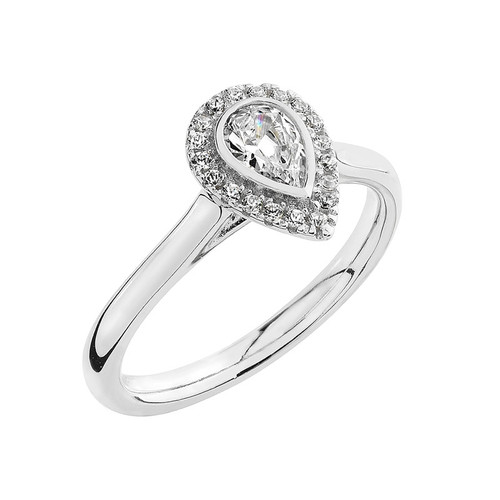 Luminous Silver Pear Shape Halo Ring